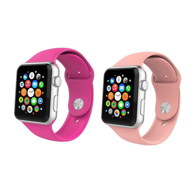 2-Pack: Silicone Apple Watch Straps Gadgets & Accessories 38/40mm Fuchsia/Pink - DailySale