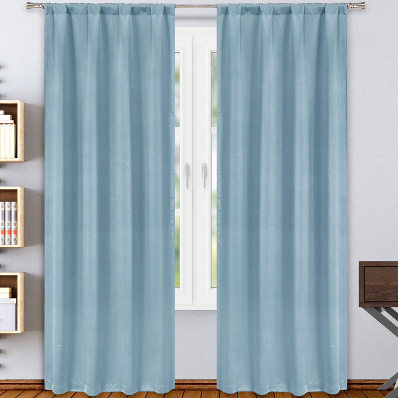 2-Pack: Solid Blackout Pole Top Window Curtain Panel Indoor Lighting & Decor Aquamarine - DailySale