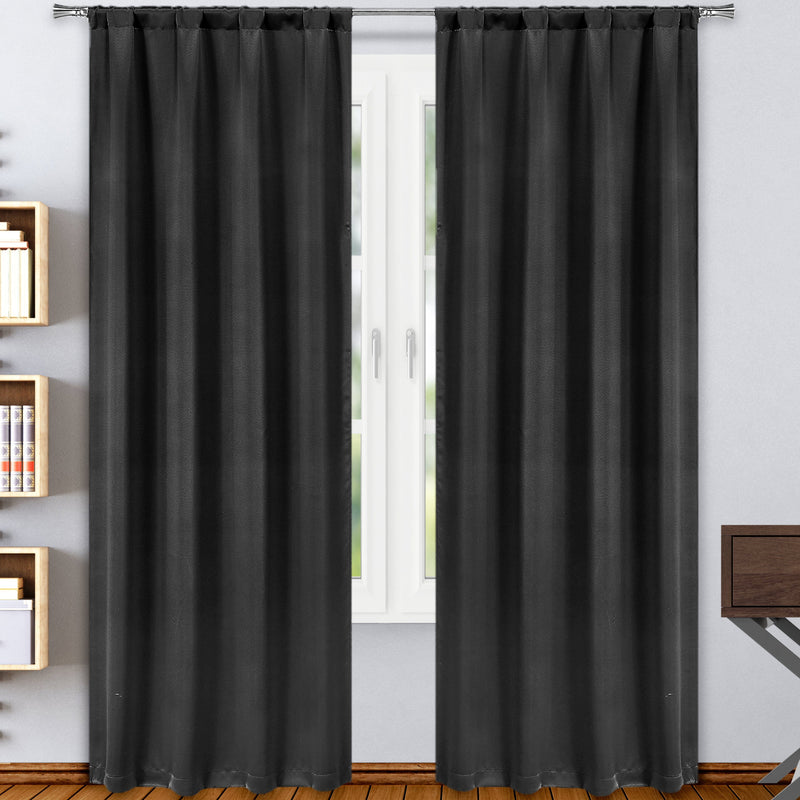 2-Pack: Solid Blackout Pole Top Window Curtain Panel Indoor Lighting & Decor Black - DailySale