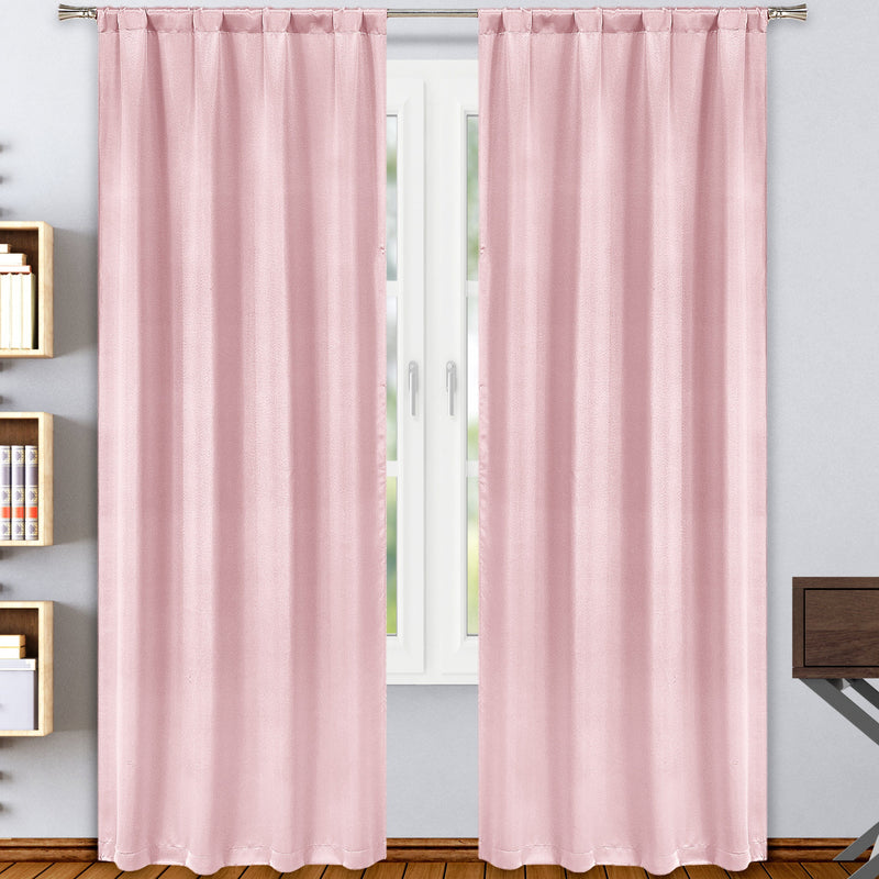 2-Pack: Solid Blackout Pole Top Window Curtain Panel Indoor Lighting & Decor Blush - DailySale