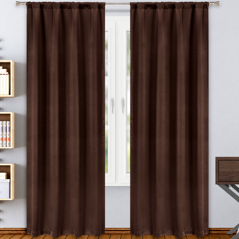 2-Pack: Solid Blackout Pole Top Window Curtain Panel Indoor Lighting & Decor Chocolate - DailySale