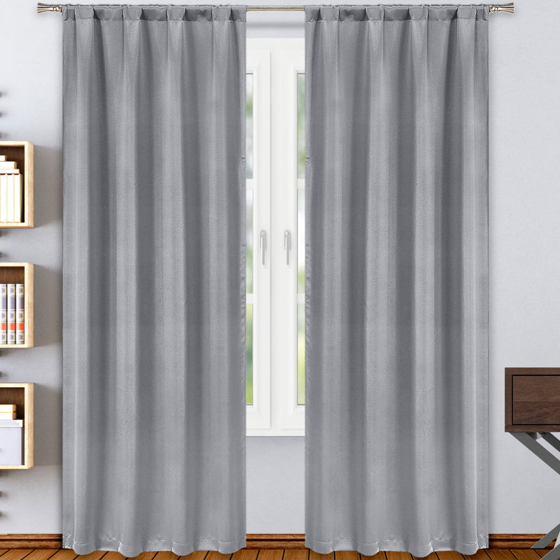 2-Pack: Solid Blackout Pole Top Window Curtain Panel Indoor Lighting & Decor Gray - DailySale