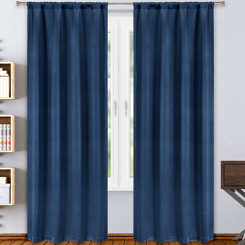 2-Pack: Solid Blackout Pole Top Window Curtain Panel Indoor Lighting & Decor Navy - DailySale