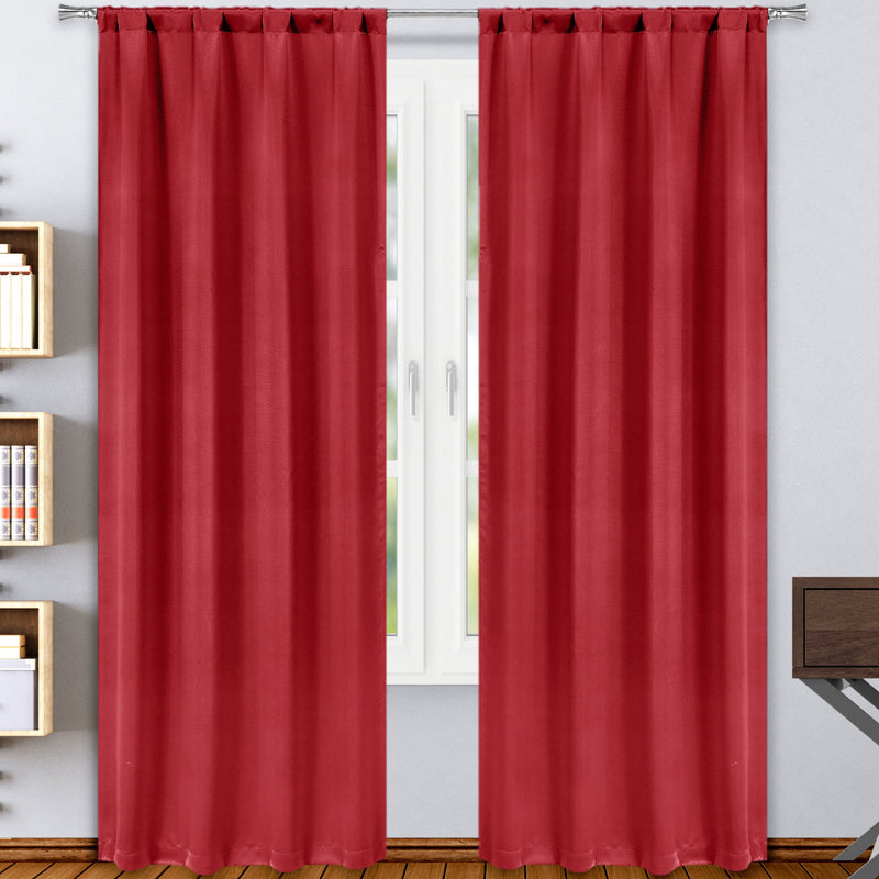 2-Pack: Solid Blackout Pole Top Window Curtain Panel Indoor Lighting & Decor Red - DailySale