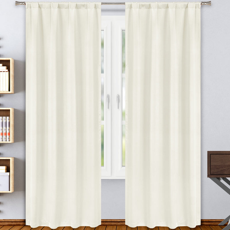 2-Pack: Solid Blackout Pole Top Window Curtain Panel Indoor Lighting & Decor Stone - DailySale