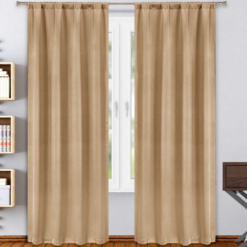 2-Pack: Solid Blackout Pole Top Window Curtain Panel Indoor Lighting & Decor Taupe - DailySale