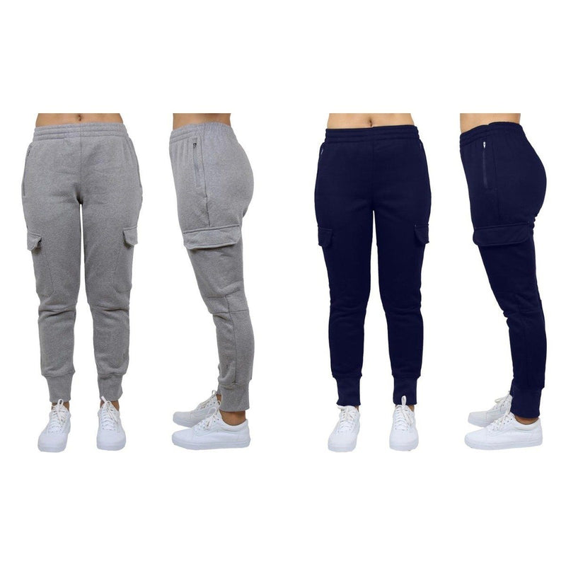 2-Pack: Women's Fleece-Lined Loose-Fit Cargo Joggers Women's Apparel S Charcoal/Navy - DailySale