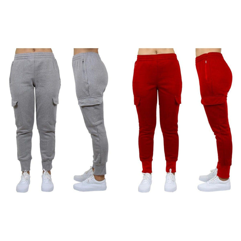 2-Pack: Women's Fleece-Lined Loose-Fit Cargo Joggers Women's Apparel S Charcoal/Red - DailySale