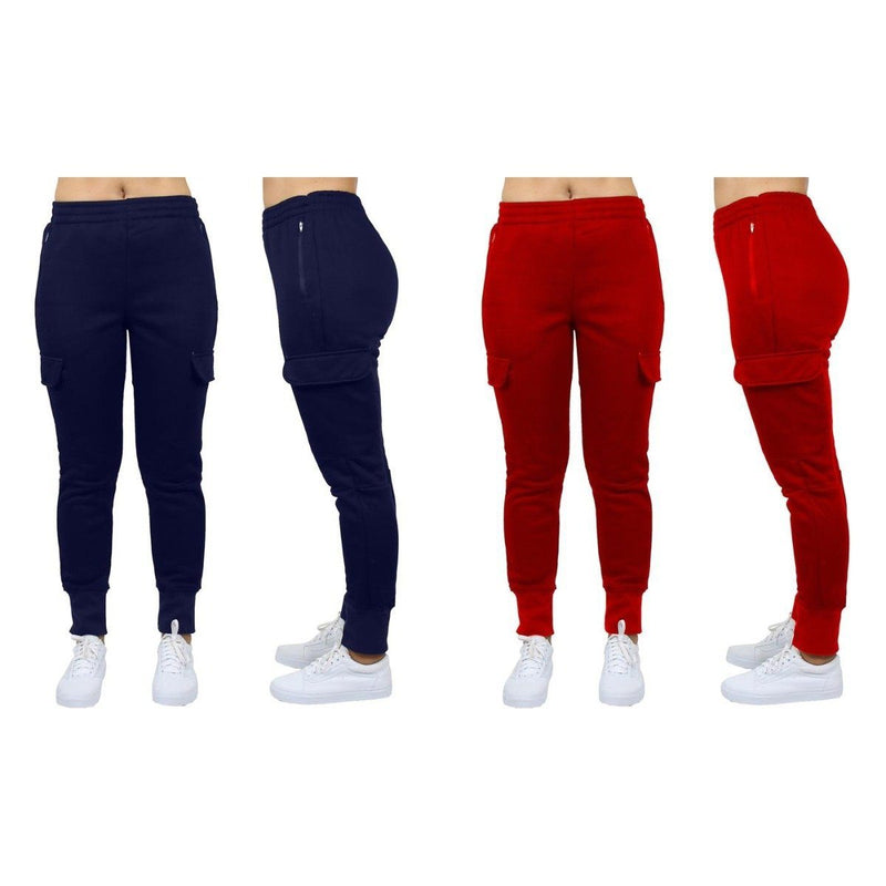 2-Pack: Women's Fleece-Lined Loose-Fit Cargo Joggers Women's Apparel S Navy/Red - DailySale