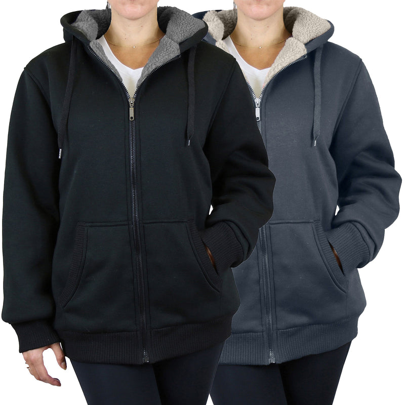 2-Pack: Women's Heavyweight Loose Fitting Sherpa Fleece-Lined Hoodie Sweater Women's Clothing Black/Charcoal S - DailySale
