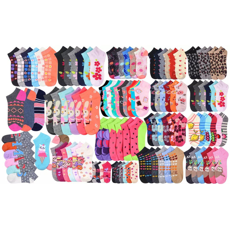 2-Pairs: Mystery Kids' Low Cut Ankle Socks Girl Assorted 0-12 - DailySale