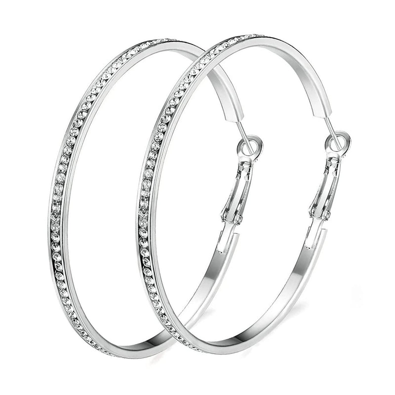 "2"" Pave Hoop Earring with Swarovski Crystals in 18K White Gold Plated"