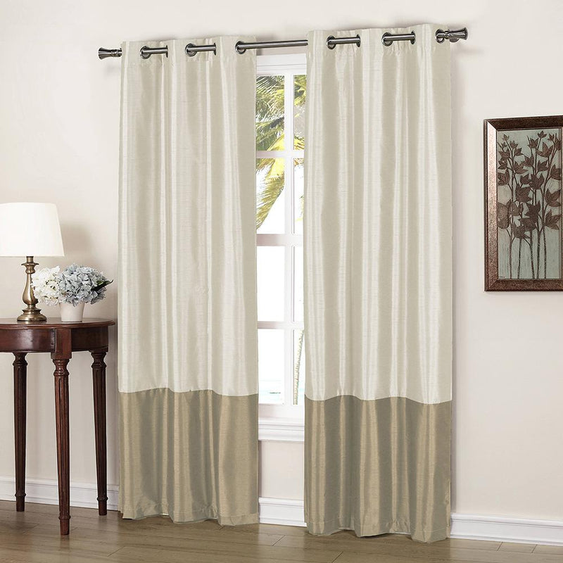 2-Piece: Faux Silk Thermal Two Toned Blackout Grommet Window Curtain Panels Set Furniture & Decor Beige - DailySale
