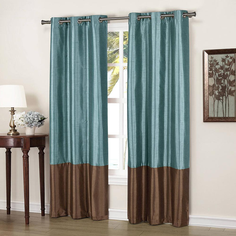 2-Piece: Faux Silk Thermal Two Toned Blackout Grommet Window Curtain Panels Set Furniture & Decor Blue - DailySale