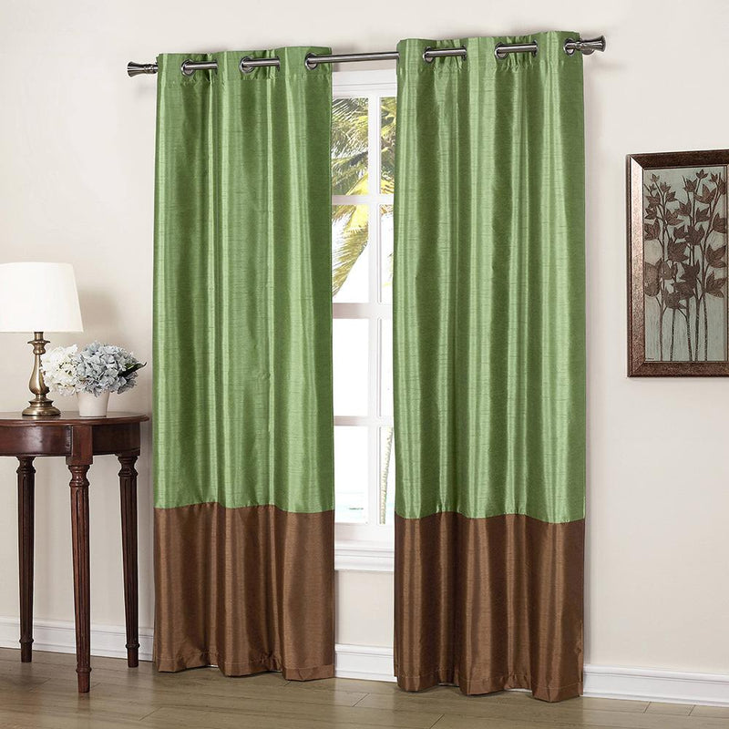 2-Piece: Faux Silk Thermal Two Toned Blackout Grommet Window Curtain Panels Set Furniture & Decor Sage - DailySale