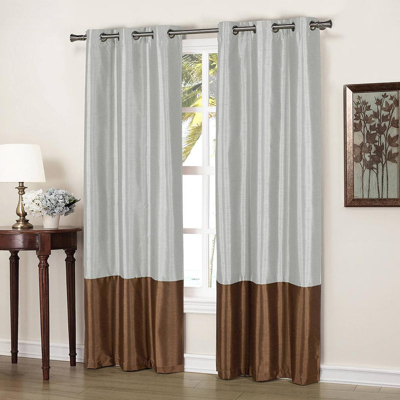 2-Piece: Faux Silk Thermal Two Toned Blackout Grommet Window Curtain Panels Set Furniture & Decor Silver - DailySale