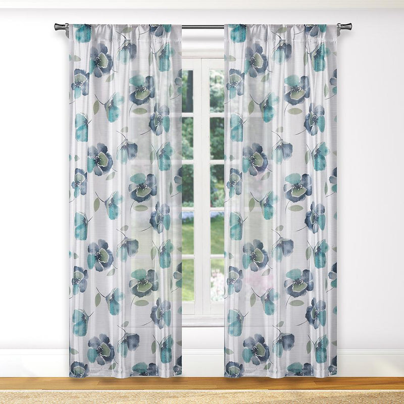 2-Piece: Floral Semi-Sheer Window Curtain Panel Set Furniture & Decor Aqua - DailySale
