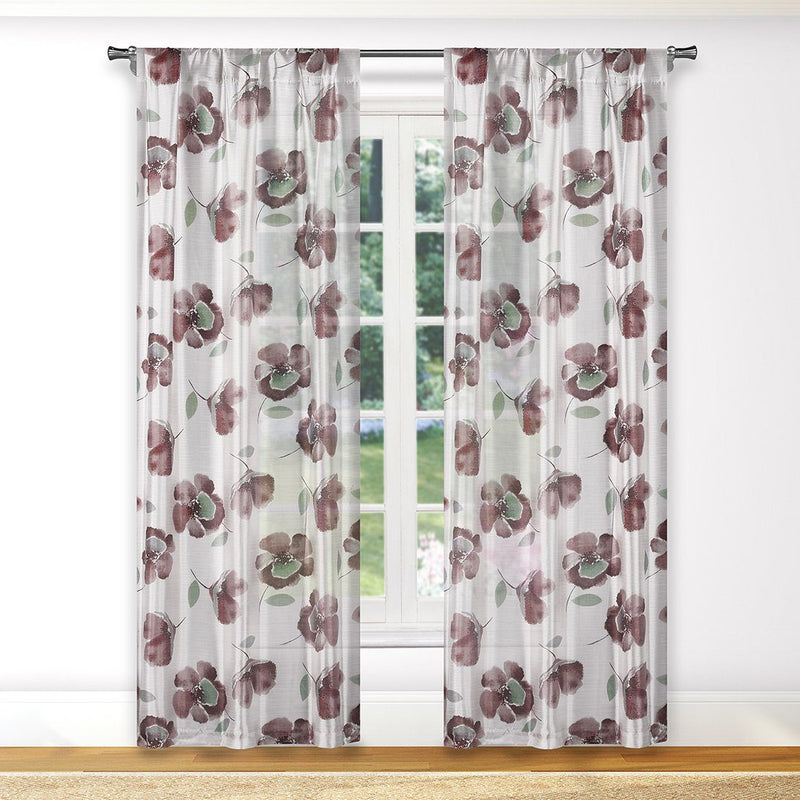 2-Piece: Floral Semi-Sheer Window Curtain Panel Set Furniture & Decor Blush - DailySale