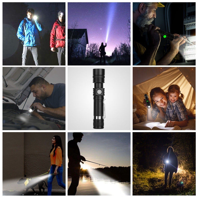2-Piece: LED Handheld Flashlight Zoomable USB Rechargable Sports & Outdoors - DailySale