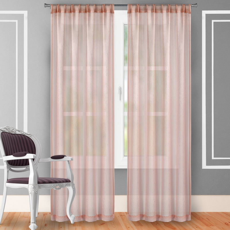 "2-Piece Set: Crushed Semi-Sheer Fire Retardant Window Curtain Indoor Lighting & Decor 63"" Blush - DailySale"