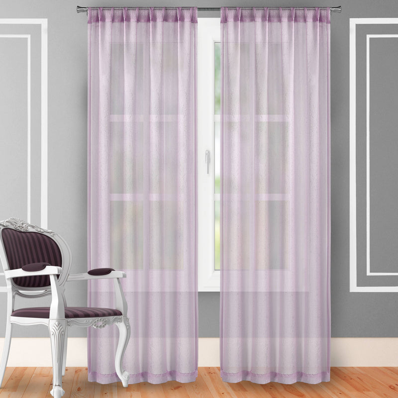 "2-Piece Set: Crushed Semi-Sheer Fire Retardant Window Curtain Indoor Lighting & Decor 63"" Lilac - DailySale"