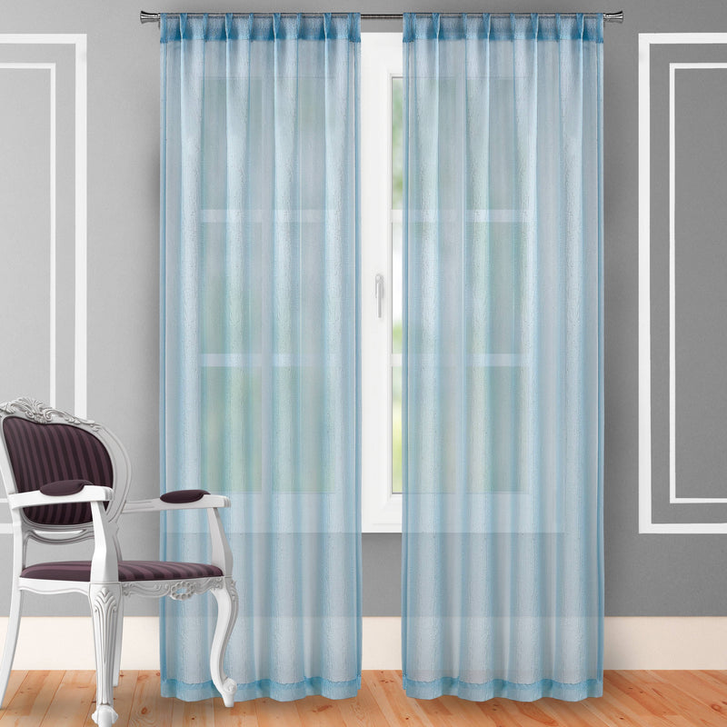 "2-Piece Set: Crushed Semi-Sheer Fire Retardant Window Curtain Indoor Lighting & Decor 63"" Powder Blue - DailySale"