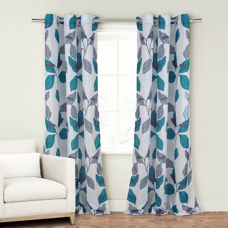 2-Piece Set: Floral Leaves Blackout Grommet Window Curtain Pair Panel Furniture & Decor Blue - DailySale