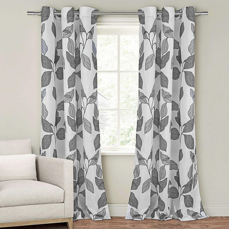 2-Piece Set: Floral Leaves Blackout Grommet Window Curtain Pair Panel Furniture & Decor Gray - DailySale