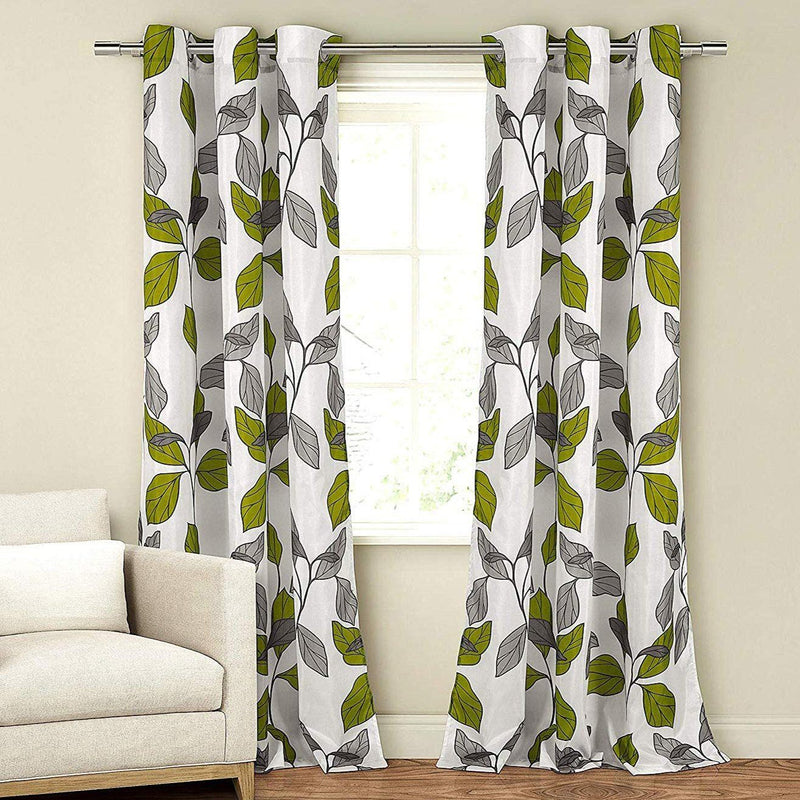 2-Piece Set: Floral Leaves Blackout Grommet Window Curtain Pair Panel Furniture & Decor Green - DailySale