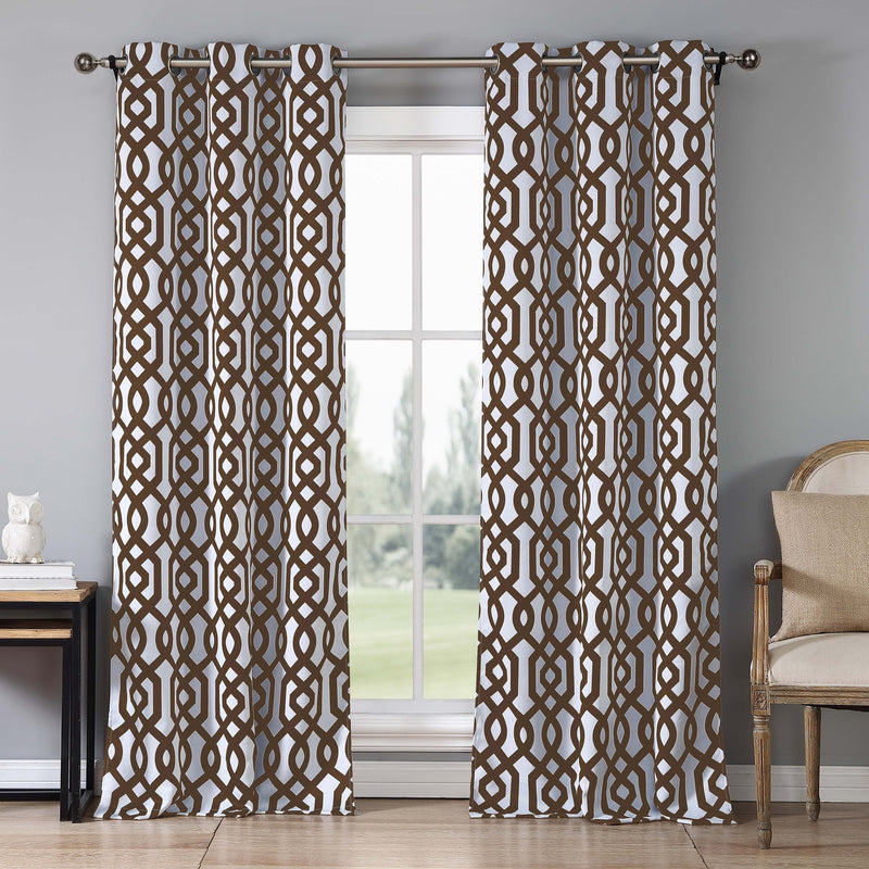 2-Piece Set: Geometric Gate Pattern Blackout Grommet Window Curtain Pair Panel Furniture & Decor Chocolate - DailySale