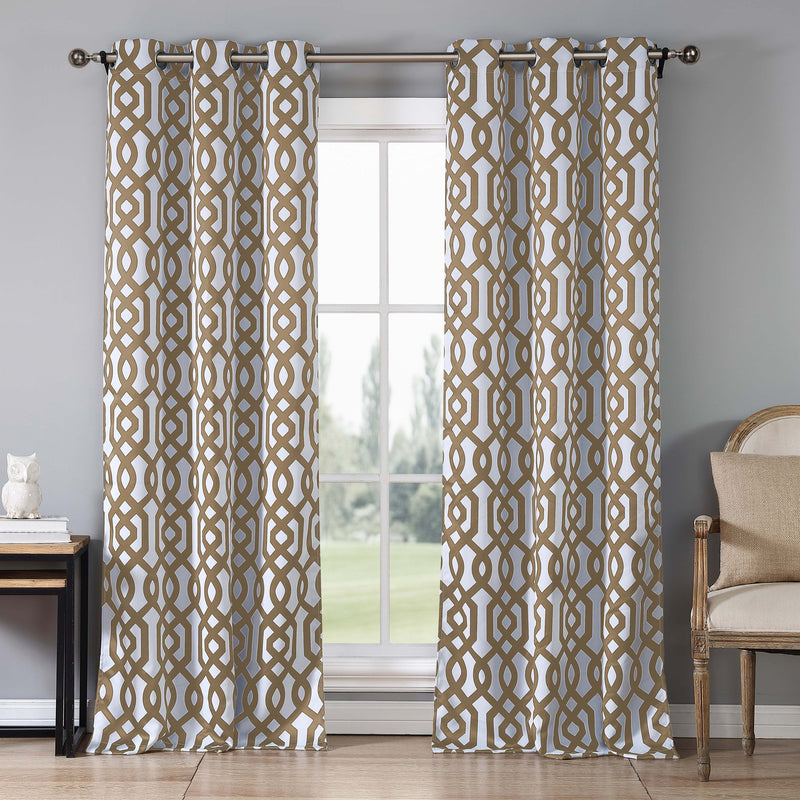 2-Piece Set: Geometric Gate Pattern Blackout Grommet Window Curtain Pair Panel Furniture & Decor Taupe - DailySale