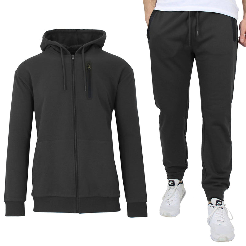 2-Piece Set: Men's Slim Fitting French Terry Hoodie & Jogger Men's Clothing Black S - DailySale