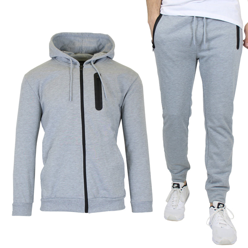 2-Piece Set: Men's Slim Fitting French Terry Hoodie & Jogger Men's Clothing Heather Gray S - DailySale