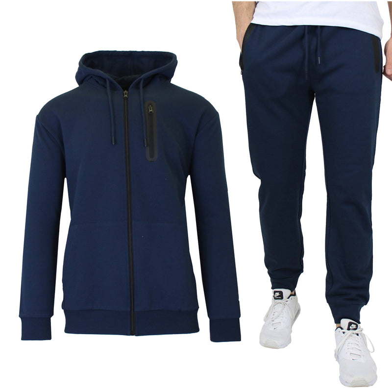 2-Piece Set: Men's Slim Fitting French Terry Hoodie & Jogger Men's Clothing Navy S - DailySale