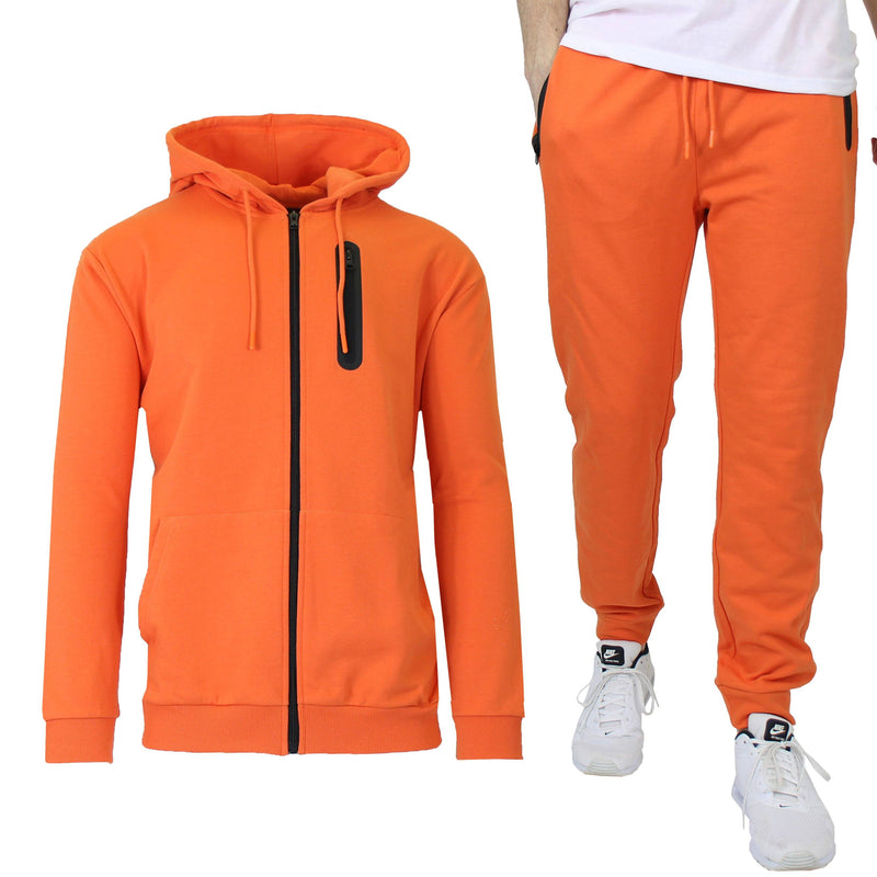 2-Piece Set: Men's Slim Fitting French Terry Hoodie & Jogger Men's Clothing Orange S - DailySale