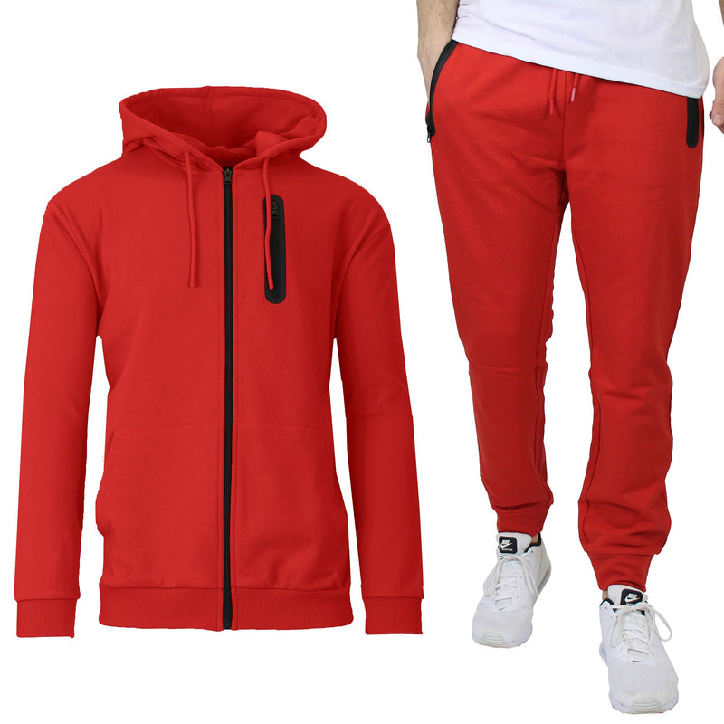 2-Piece Set: Men's Slim Fitting French Terry Hoodie & Jogger Men's Clothing Red S - DailySale