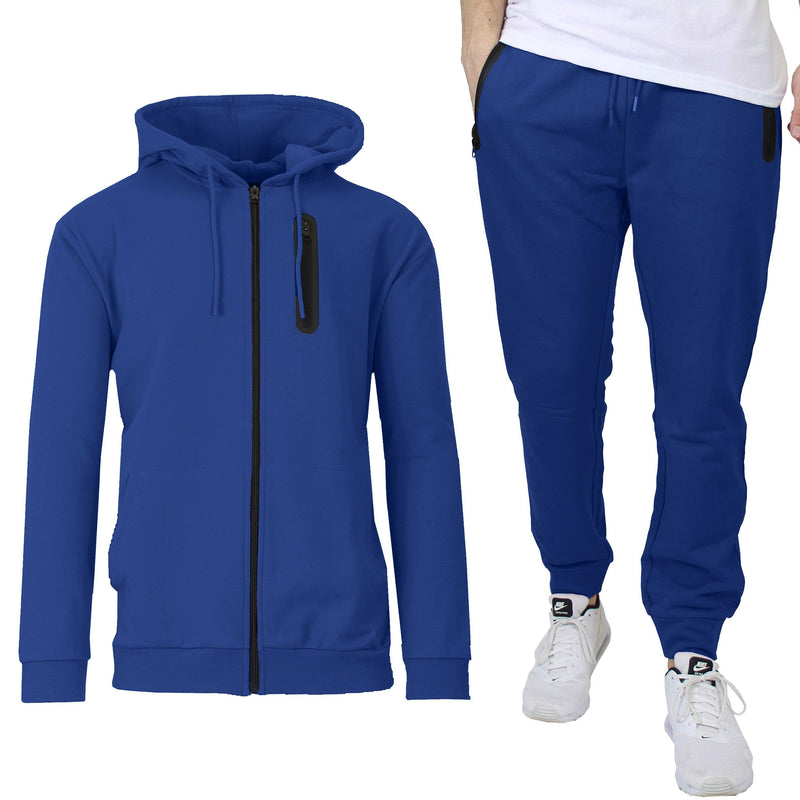 2-Piece Set: Men's Slim Fitting French Terry Hoodie & Jogger Men's Clothing Royal S - DailySale