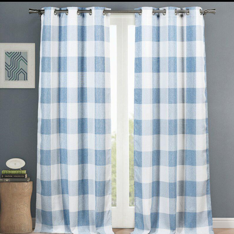 "2-Piece Set: Plaid Heavy Blackout Thermal Grommet Window Curtain Pair Pane Indoor Lighting & Decor 38x84"" Blue - DailySale"