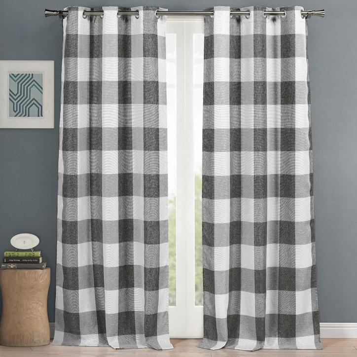 "2-Piece Set: Plaid Heavy Blackout Thermal Grommet Window Curtain Pair Pane Indoor Lighting & Decor 38x84"" Gray - DailySale"