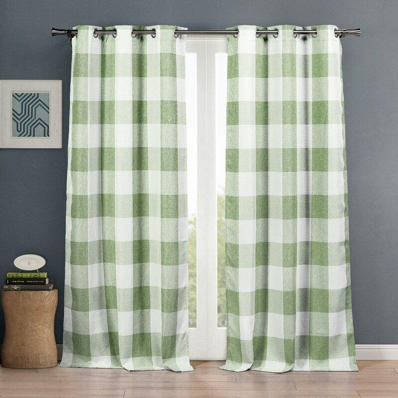 "2-Piece Set: Plaid Heavy Blackout Thermal Grommet Window Curtain Pair Pane Indoor Lighting & Decor 38x84"" Sage - DailySale"