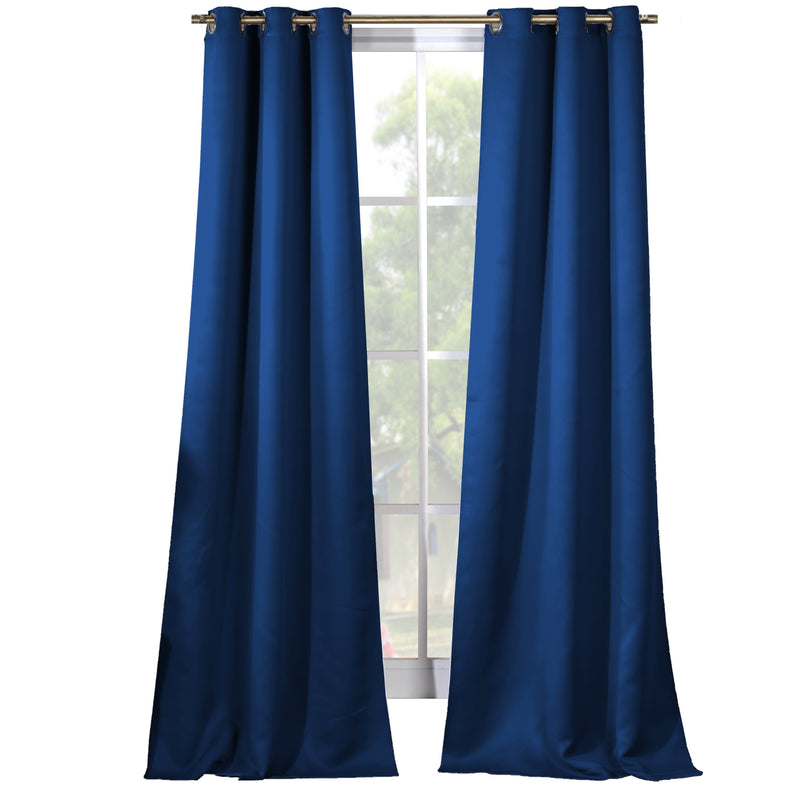2-Piece Set: Solid Blackout Thermal Grommet Window Curtain Pair Panel Furniture & Decor Apache Blue - DailySale