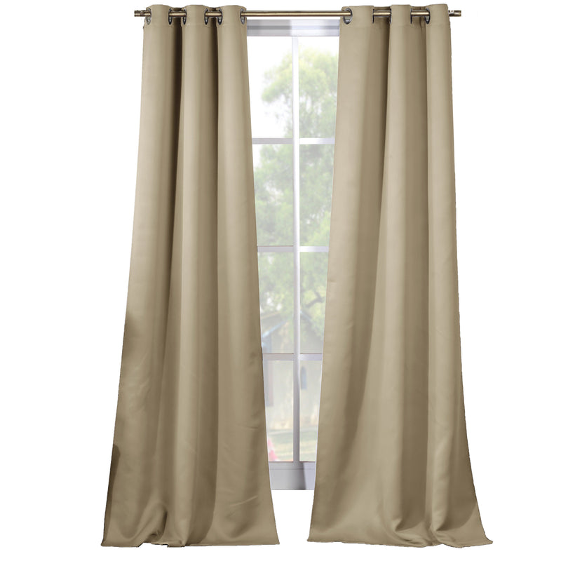 2-Piece Set: Solid Blackout Thermal Grommet Window Curtain Pair Panel Furniture & Decor Beige - DailySale
