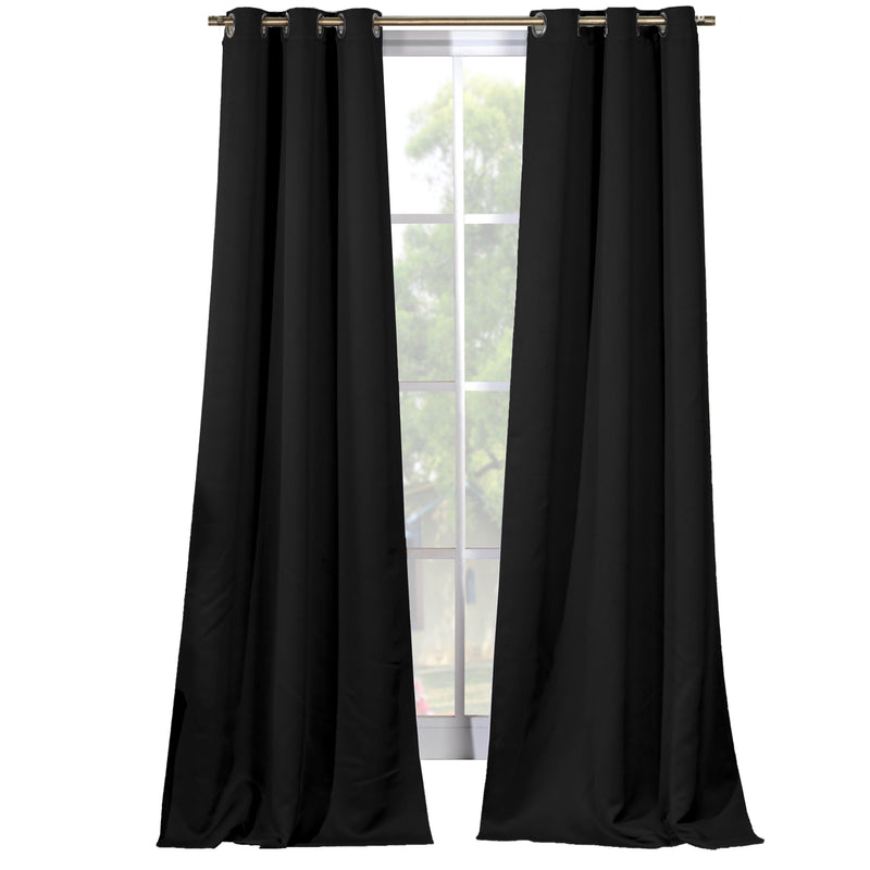 2-Piece Set: Solid Blackout Thermal Grommet Window Curtain Pair Panel Furniture & Decor Black - DailySale
