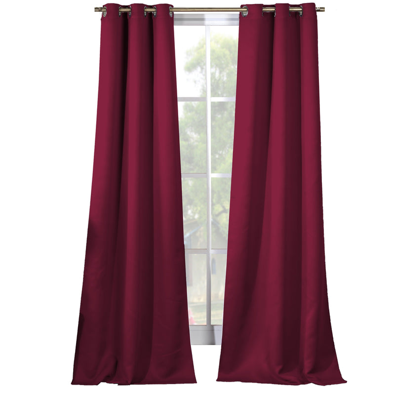 2-Piece Set: Solid Blackout Thermal Grommet Window Curtain Pair Panel Furniture & Decor Burgundy - DailySale
