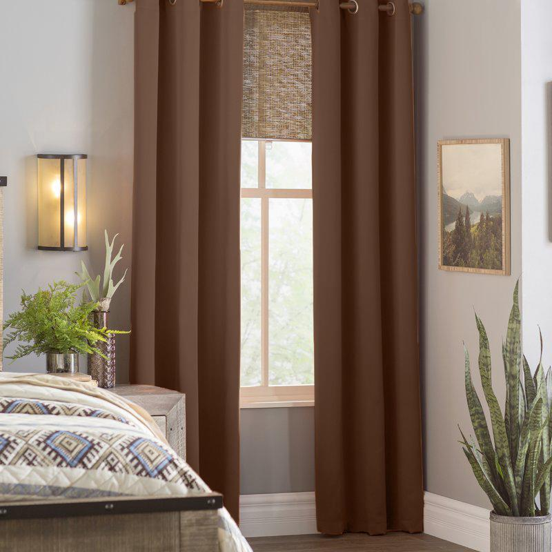 2-Piece Set: Solid Blackout Thermal Grommet Window Curtain Pair Panel Furniture & Decor Chocolate - DailySale