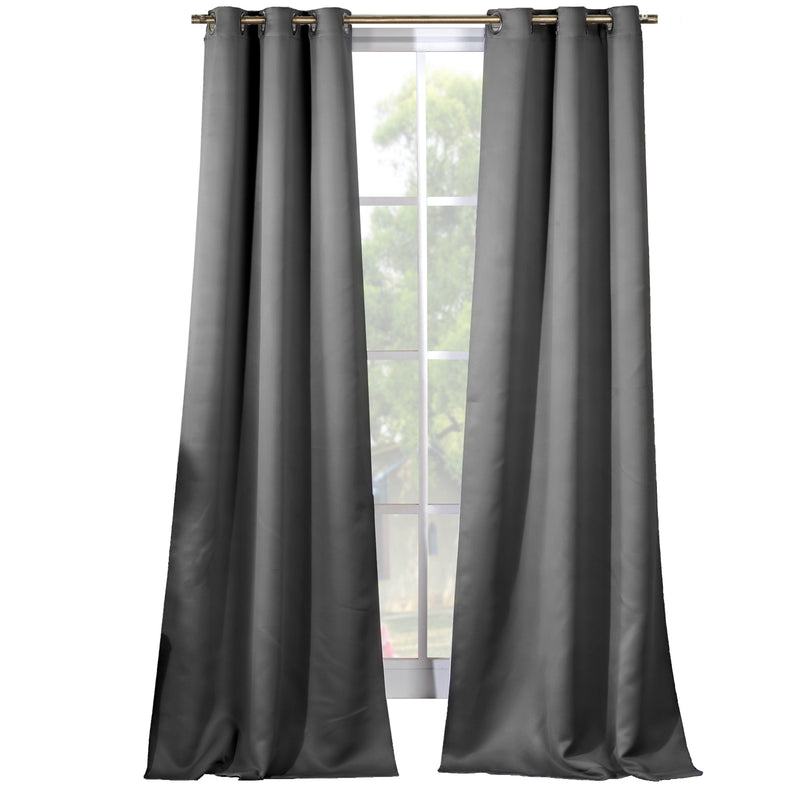 2-Piece Set: Solid Blackout Thermal Grommet Window Curtain Pair Panel Furniture & Decor Gray - DailySale