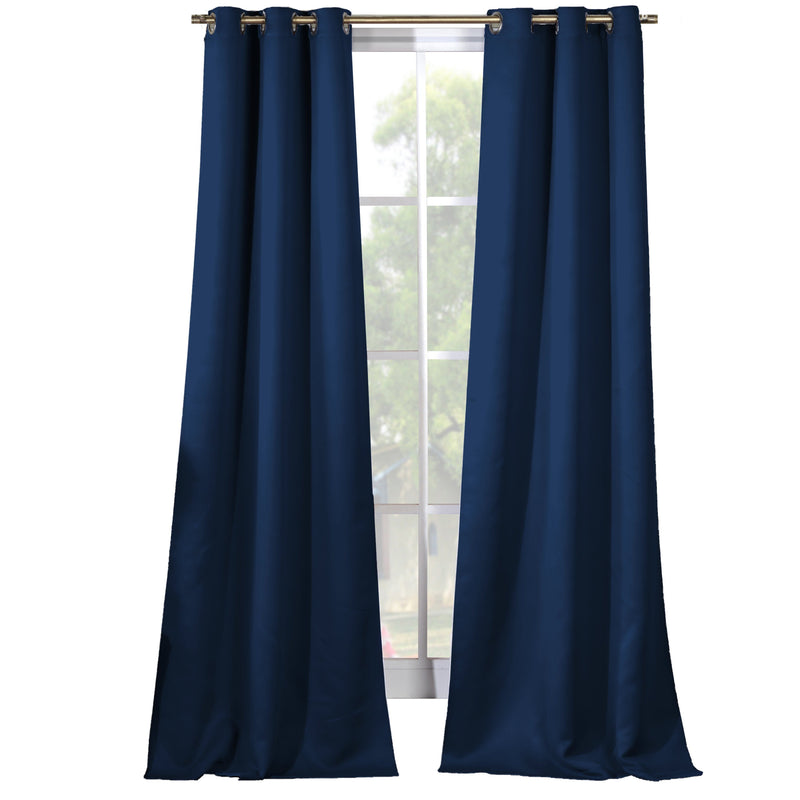 2-Piece Set: Solid Blackout Thermal Grommet Window Curtain Pair Panel Furniture & Decor Navy - DailySale