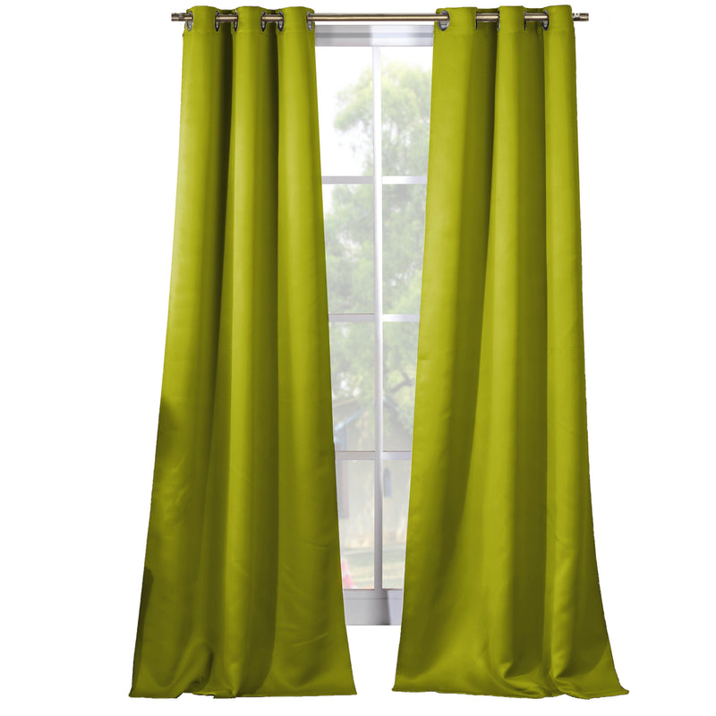 2-Piece Set: Solid Blackout Thermal Grommet Window Curtain Pair Panel Furniture & Decor Pistachio - DailySale