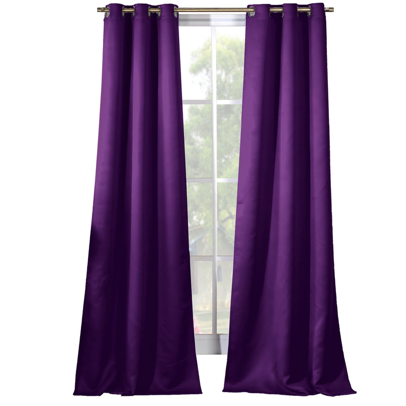 2-Piece Set: Solid Blackout Thermal Grommet Window Curtain Pair Panel Furniture & Decor Plum - DailySale
