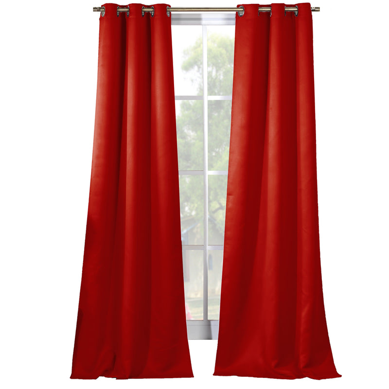 2-Piece Set: Solid Blackout Thermal Grommet Window Curtain Pair Panel Furniture & Decor Red - DailySale